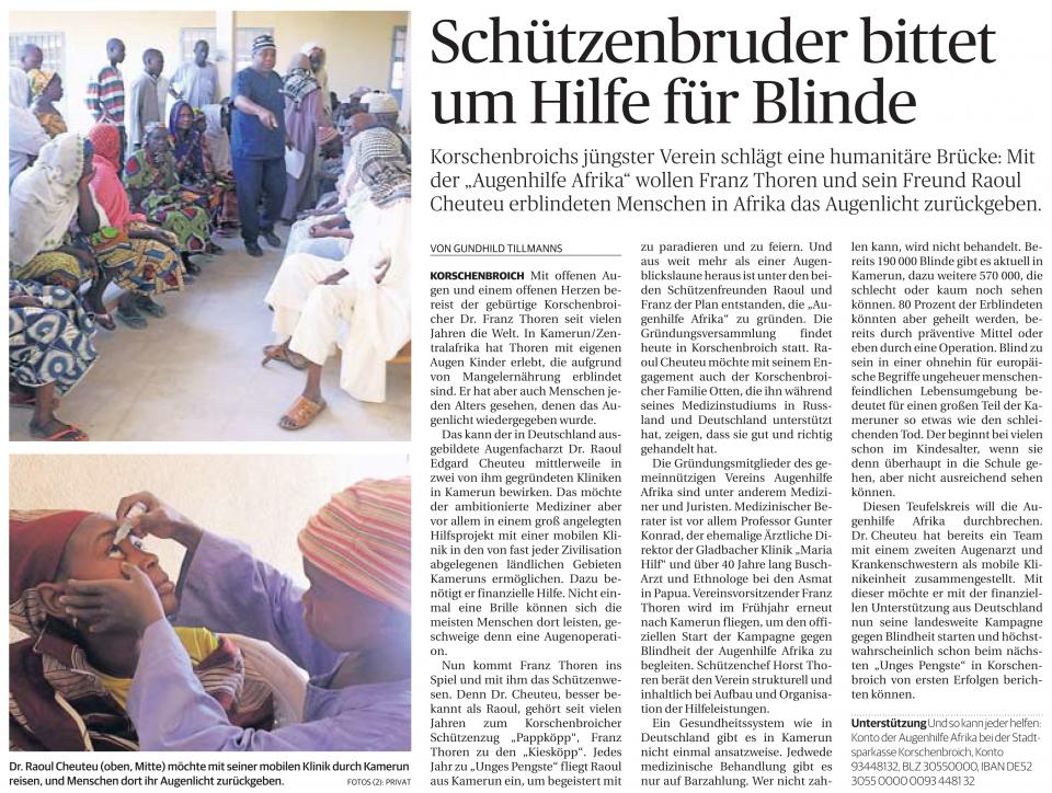 Schützenbruder bittet um Hilfe für Blinde