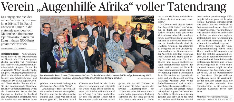 Verein Augenhilfe Afrika voller Tantendrang