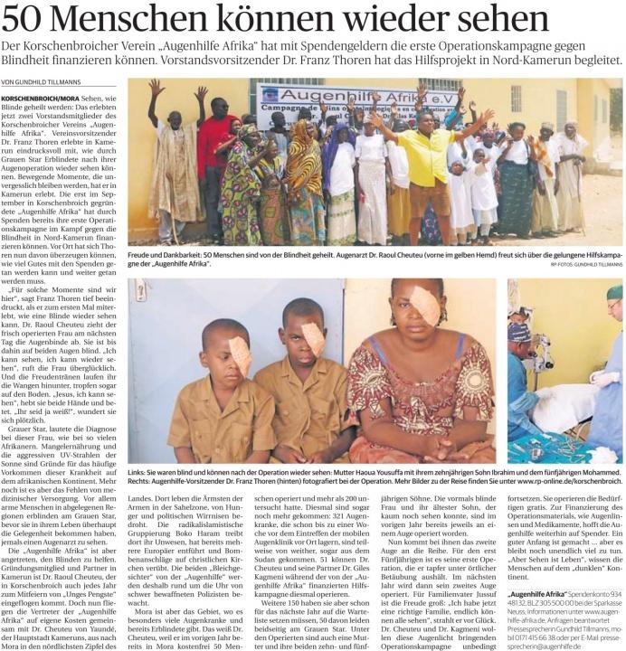 """Der Korschenbroicher Verein """"Augenhilfe Afrika"""" hat mit Spendengeldern die erste Operationskampagne gegen Blindheit finanzieren können. Vorstandsvorsitzender Dr. Franz Thoren hat das Hilfsprojekt in Nord-Kamerun begleitet."""