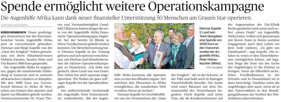 Spende ermöglicht weitere Operationskampagne