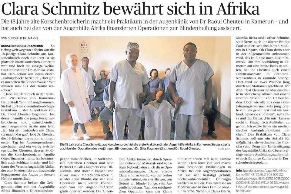 Clara Schmitz bewährt sich in Afrika