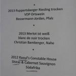 Die Weinkarte mit einem kleinen Gag: Dr. Raoul Cheuteu ist aber weiterhin Augenarzt und kein Winzer