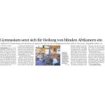 Gymnasium setzt sich für Heilung von blinden Afrikanern ein