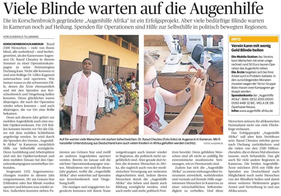 Viele Blinde warten auf die Augenhilfe