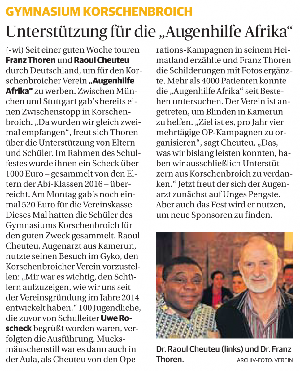 Gymnasium Korschenbroich - Unterstützung für die Augenhilfe Afrika
