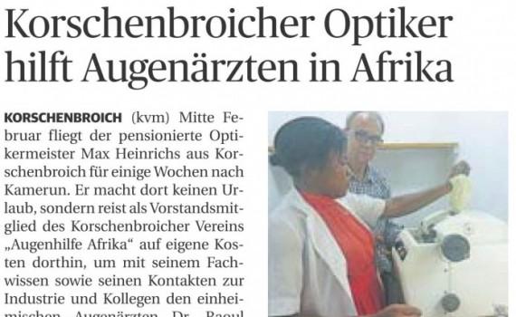 Korschenbroicher Optiker hilft Augenärzten in Afrika