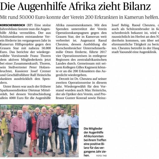 Die Augenhilfe Afrika zieht Bilanz